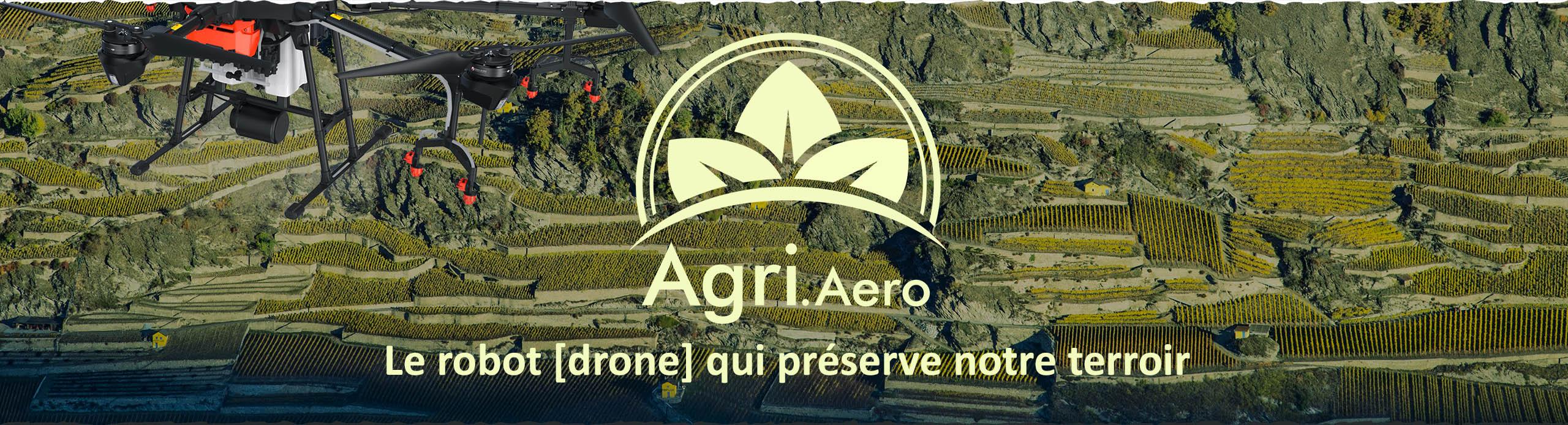 Bannière logo agri aero vignes sion valais drone